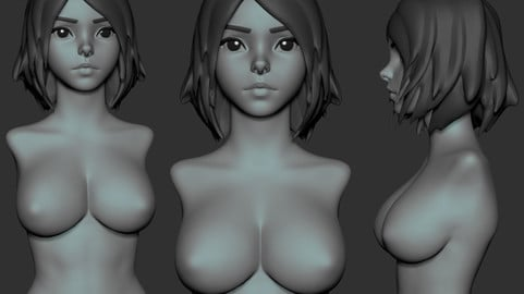 Cute Anime Girl Zbrush 2020 Project plus Highpoly obj