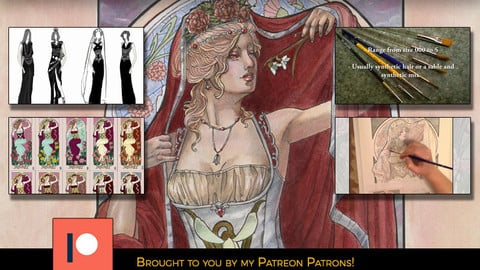 """Traditional Media Tutorial - Painting the Art Nouveau Style """"Lady of January"""" in Watercolor and Ink"""