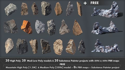20 High, Med/Low poly scanned rocks + FREE High & Low poly mountain model