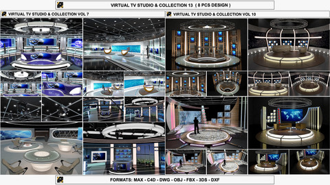 Virtual TV Studio Sets - Collection Vol 13 - 8 PCS DESIGN