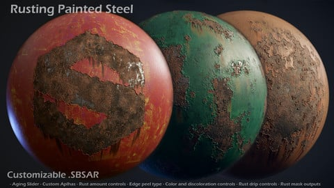 Rusting Painted Steel - Customizable Material