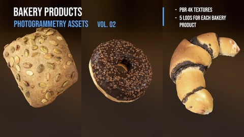 Bakery products pack - photogrammetry 3D assets vol. 02