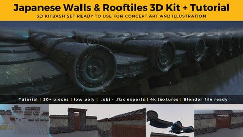 Japanese Walls & Rooftiles 3D Kit & Tutorial