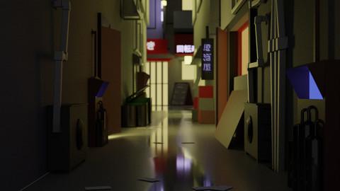 Low Poly Japanese Side Alley Scene (3D model) OBJ