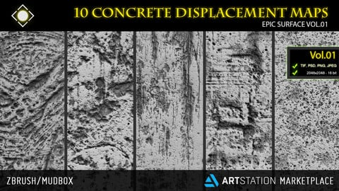 10 Concrete Displacement Maps  for ZBrush/Mudbox - Epic Surface Vol.01