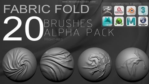 20 Fabric Fold Alphas/Normalmaps Brushes