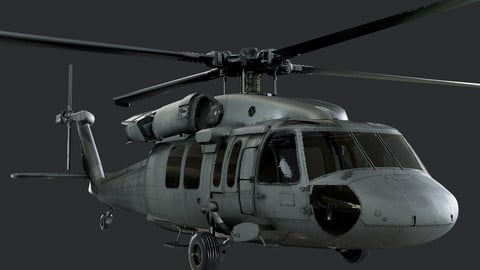 Sikorsky UH-60 Black Hawk US Military Helicopter EXTERIOR ONLY