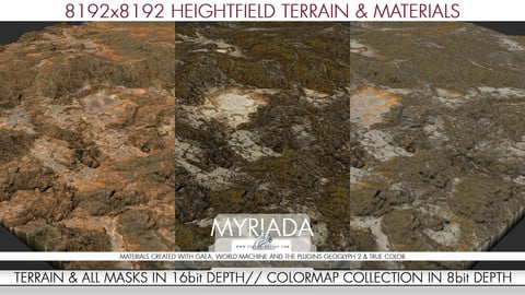 8k Heightfield Terrain & Materials - Myriada