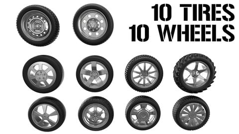 10 Tires + 10 Wheels - Highpoly