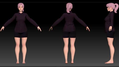 ZBrush Stylized Character Female Base Mesh No18 Style 2