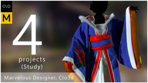 4 projects Marvelous Designer,Clo3d. (Study)