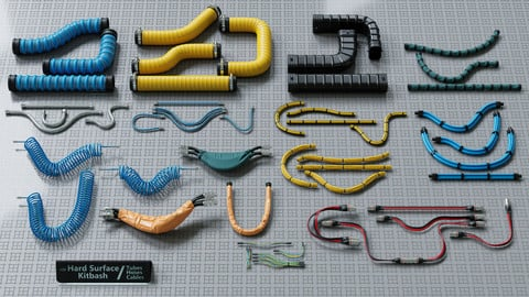 Hard Surface Kitbash Pack - Editable Tubes, Hoses, Cables