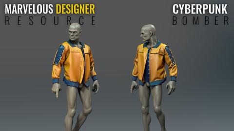 Cyberpunk Bomber Jacket - Marvelous Designer Resource File