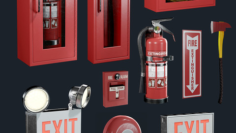 Fire Equipment Exit Sign Extinguisher Set Game Ready