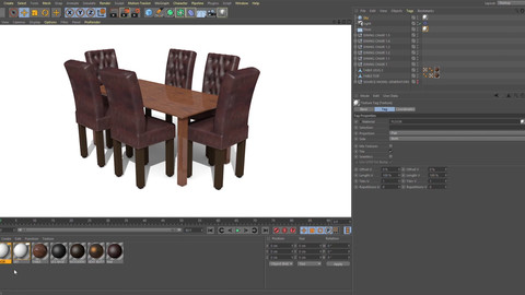 HOW TO CREATE A DINING TABLE WITH LEATHER BUTTONED CHAIRS IN CINEMA 4D TUTORIALS