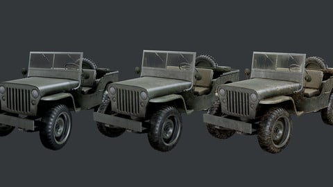WW2 Willys Jeep Vehicle Game Ready
