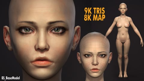 ES Low Poly PBR Base Female (9K TRIS) for AAA Character Design. Clean Topology (Rig Friendly, Animation Friendly, Clean UVs, 8k Maps) UE4 and UNITY Friendly