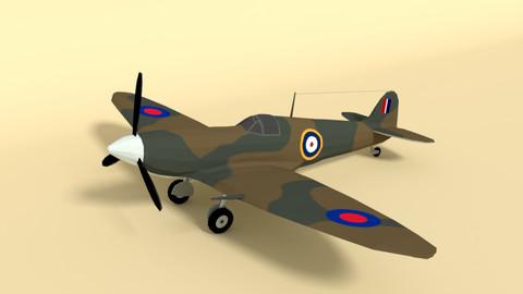 Low Poly Cartoon Supermarine Spitfire MKII