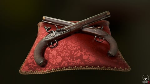 English Flintlock Pistol low poly model