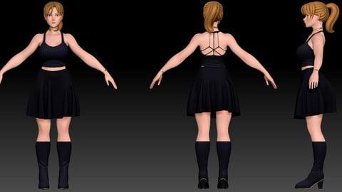 ZBrush Stylized Character Female Base Mesh No18 Style 6
