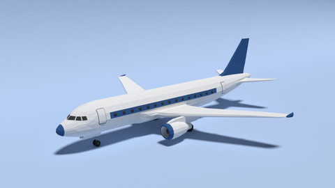 Low Poly Cartoon Airbus A320 Airplane