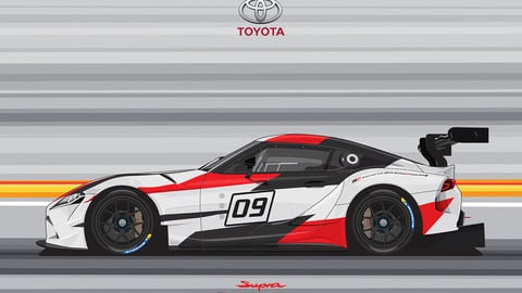 TOYOTA SUPRA GAZOO RACING/THE CREATE CAR FLAT VECTOR FROM PHOTOS