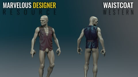 Waistcoat - Western - Marvelous Designer Resource