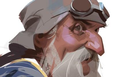 Old man - sketch process video