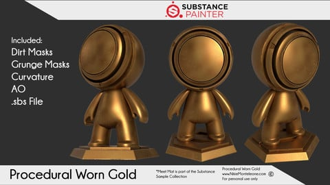 Procedural Gold Worn Shader for Substance Painter