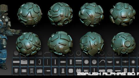 Zbrush Alphas-80  Robots 2