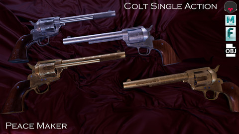 Colt Single Action (peace maker) Game Ready Gun Model.