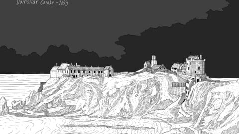 dunnottar castle, Scotland. detailed illustration. (high resolution PNG) Scottish landscape.