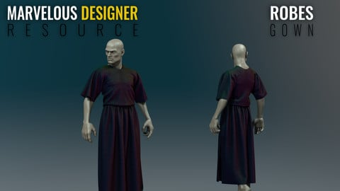 Robes - Basic  Gown - Marvelous Designer Resource