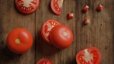 Low Poly tomato scene