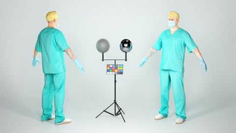 Surgical doctor in A-pose ready for rigging 51