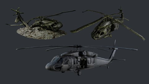 Sikorsky UH60 Black Hawk Military Helicopter Game Ready Pack 06