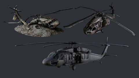 Sikorsky UH60 Black Hawk Military Helicopter Game Ready Pack 08