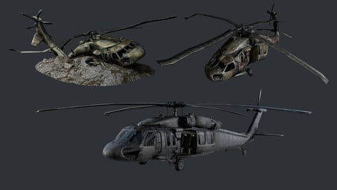 Sikorsky UH60 Black Hawk Military Helicopter Game Ready Pack 09