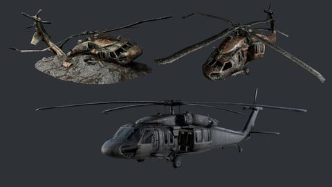 Sikorsky UH60 Black Hawk Military Helicopter Game Ready Pack 10