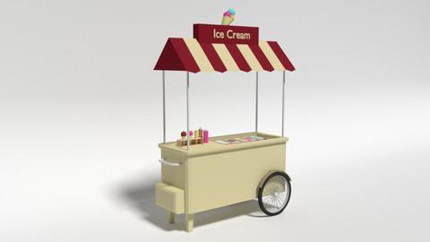 Low Poly Cartoon Ice Cream Truck