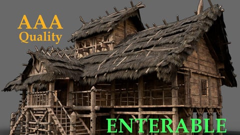 FANTASY MEDIEVAL WOODEN THATCHED SWAMP HOUSE