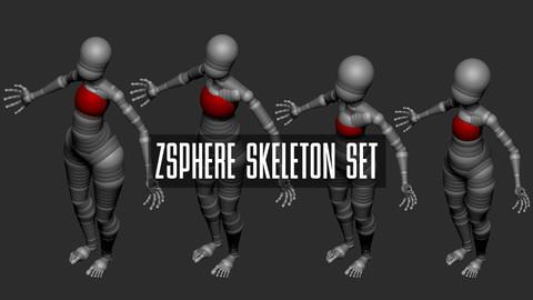 ZSphere Skeleton Set Stylized (ZBrush)
