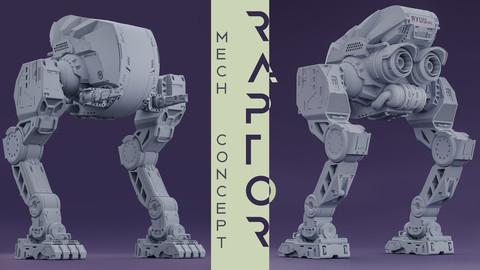 Raptor - scifi mech high poly 3D model