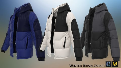 Winter Down Jacket ,Marvelous designer, Clo3d