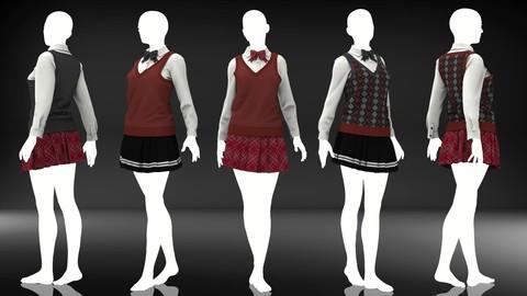 Women Sweater Uniform - Marvelous Designer and Clo3D