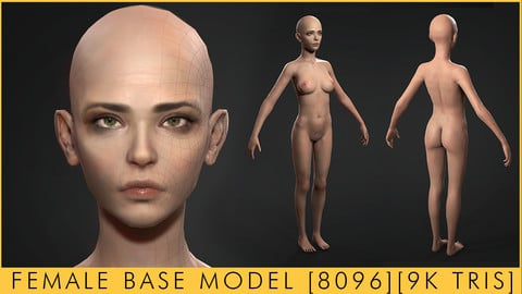 PBR Lowpoly Base Female (Game/Rig Ready [UE4, UNITY] [9K Triangles]
