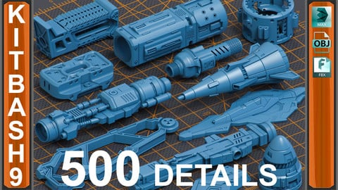 Mega Pack Sci-Fi Hard Surface KITBASH 500 DETAILS