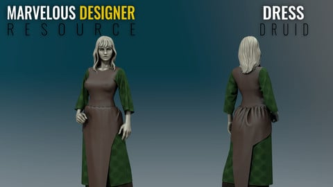 Dress - Druid - Marvelous Designer Resource