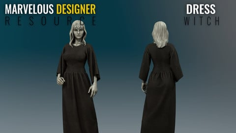 Dress - Witch - Marvelous Designer Resource