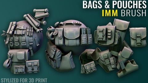 Bags & Pouches IMM - Zbrush - Stylized for 3D Print